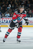 KELOWNA, CANADA - NOVEMBER 1:  Ryan Olsen #27 of the Kelowna Rockets skates on the ice against the  Kamloops Blazers at the Kelowna Rockets on November 1, 2012 at Prospera Place in Kelowna, British Columbia, Canada (Photo by Marissa Baecker/Shoot the Breeze) *** Local Caption ***