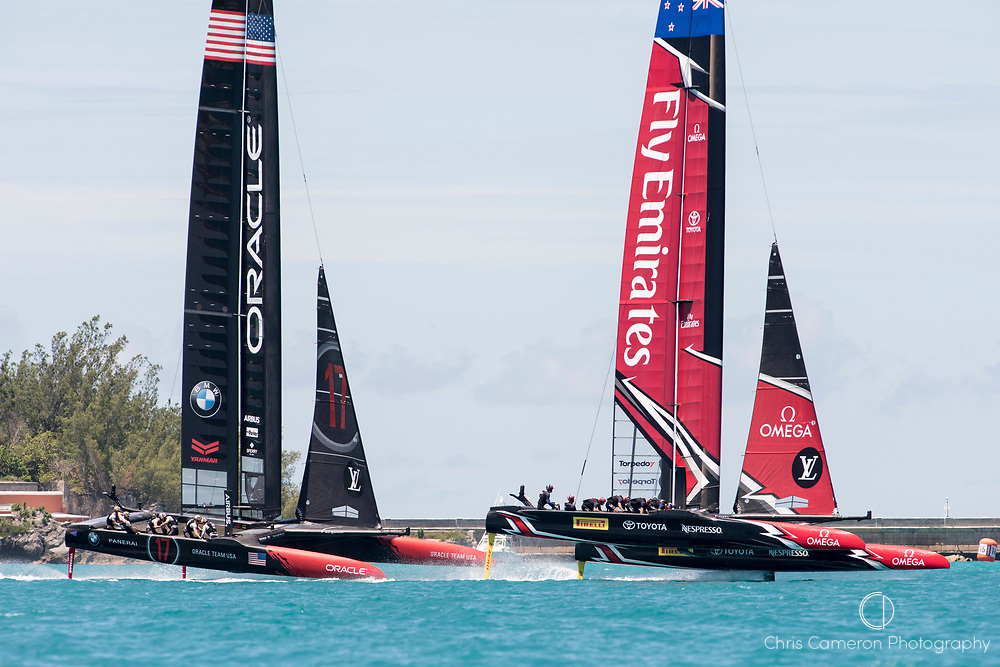 The Great Sound, Bermuda, 25th June 2017. Emirates Team New Zealand and Oracle Team USA in the start box for race seven. Day four of racing in the America's Cup presented by Louis Vuitton.