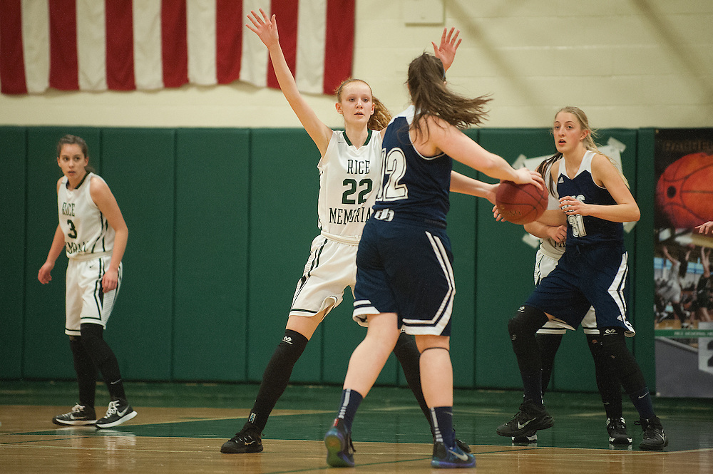 Rice's Lizzy Lyman (22) guards Burlington's Makayla King (12) during the girls basketball game between the Burlington Sea Horses and the Rice Green knights at Rice Memorial high school on Thursday night February 18, 2016 in South Burlington. (BRIAN JENKINS/for the FREE PRESS)