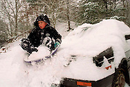 Sledding off a Car-Dakota Low, 11, of newtown, gets in one slide off the front of his parent's car before being yelled at during the snowstorm on thursday afternoon