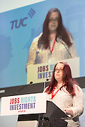Alison Roder speaking at the TUC congress 2016, Brighton. UK.