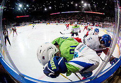 Miha Verlic of Slovenia vs Michal Kempny of Czech Republic during the 2017 IIHF Men's World Championship group B Ice hockey match between National Teams of Czech Republic and Slovenia, on May 12, 2017 in AccorHotels Arena in Paris, France. Photo by Vid Ponikvar / Sportida