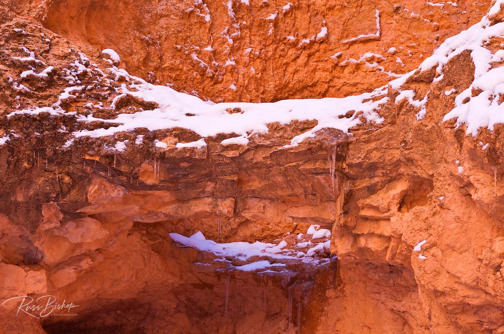 Fresh powder on canyon wall, Bryce Canyon National Park, Utah