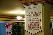 Vintage sign for the beauty shop on the mezzanine at the Hotel Finlen