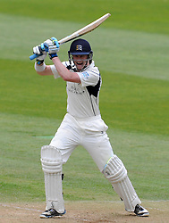 Middlesex's Nick Gubbins drives the ball off the bowling of Somerset's Tim Gronewald. - Photo mandatory by-line: Harry Trump/JMP - Mobile: 07966 386802 - 27/04/15 - SPORT - CRICKET - LVCC Division One - County Championship - Somerset v Middlesex - Day 2 - The County Ground, Taunton, England.