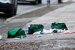 © Licensed to London News Pictures. 16/11/2018. Orpington, UK.First aid bags in Briset Road. A police cordon is in place with police standing guard after a 17 year old boy was stabbed multiple times in an attack last night in Eltham. Police were called at 10.25pm.The teenager remains critical but stable.Photo credit: Grant Falvey/LNP