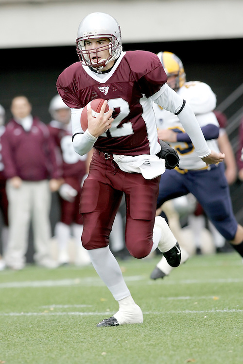 (20 October 2007 -- Ottawa) The University of Ottawa Gee Gees football team defeated the University of Windsor Lancers 43-2 to complete a perfect undefeated season. The player pictured is Bradley Sinopoli