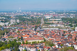 View over city of Karlsruhe from Turmberg hill in Germany