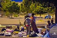 Roma 16 Maggio 2015<br /> I migranti eritrei richiedenti asilo sgomberati cinque giorni fa dall'insediamento nei pressi della stazione della metropolitana di Ponte Mammolo vivono ancora per la strada, dormendo nelle tende, con le poche cose rimaste.<br /> Roma, Italy. 16th May 2015 --<br />  Migrants evicted from settlement near the Ponte Mammolo metro station pictured with what few belongings they could carry as they continue to live rough on the streets, sleeping in tents.