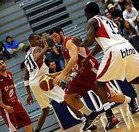 Basket<br /> BLNO<br /> 02.02.2010<br /> Ulriken Elite - Gimle<br /> Haukelandshallen<br /> Chris Eboue (3R) og Peter Bullock (R) , Gimle<br /> Paul Hafford (L) og Taylor Mullenax (2R) , Ulriken<br /> Foto : Astrid M. Nordhaug