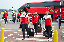 05.09.2013, Cardiff Airport, Cardiff, ENG, FIFA WM Qualifikation, Mazedonien vs Wales, Abreise Wales, im Bild Wales' players Sam Vokes, captain Ashley Williams and Jack Collison during departure of Team Wales in front of the FIFA World Cup Qualifier Match between Macedonia and Wales at the Cardiff Airport, Cardiff, England on 2013/09/05. EXPA Pictures © 2013, PhotoCredit: EXPA/ Propagandaphoto/ Michael Campanella<br /> <br /> ***** ATTENTION - OUT OF ENG, GBR, UK *****