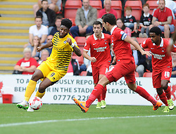 Ellis Harrison of Bristol Rovers is challenged by Mathieu Baudry of Leyton Orient - Mandatory byline: Neil Brookman/JMP - 07966386802 - 29/08/2015 - FOOTBALL - Matchroom Stadium -Leyton,England - Leyton Orient v Bristol Rovers - Sky Bet League Two