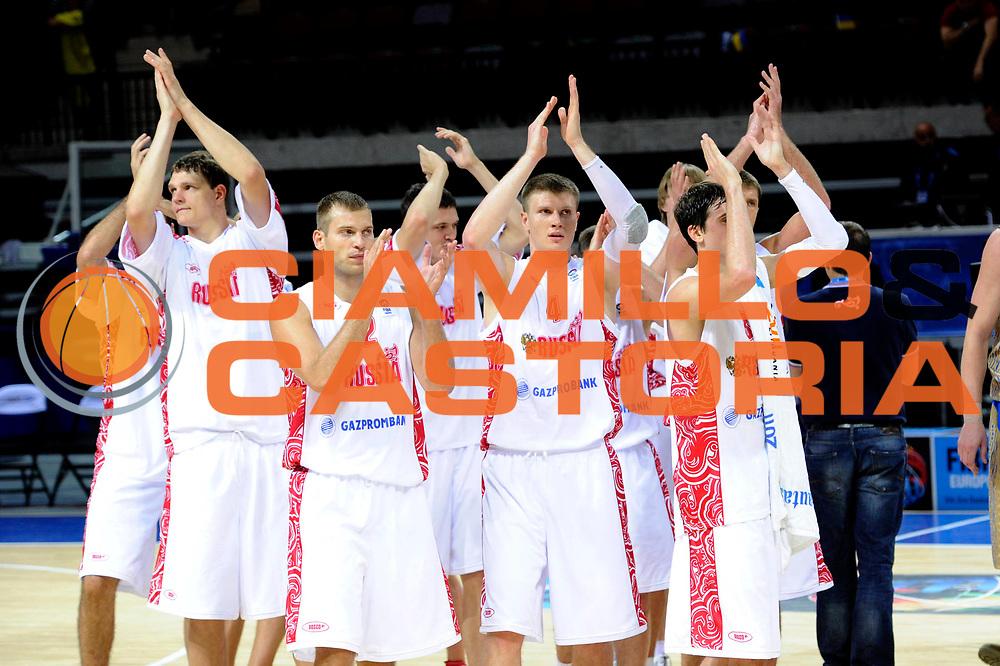 DESCRIZIONE : Klaipeda Lithuania Lituania Eurobasket Men 2011 Preliminary Round Russia Ucraina Russia Ukraine<br /> GIOCATORE : team<br /> SQUADRA : Russia <br /> EVENTO : Eurobasket Men 2011<br /> GARA : Russia Ucraina Russia Ukraine<br /> DATA : 31/08/2011<br /> CATEGORIA : team esultanza<br /> SPORT : Pallacanestro <br /> AUTORE : Agenzia Ciamillo-Castoria/C.De Massis<br /> Galleria : Eurobasket Men 2011<br /> Fotonotizia : Klaipeda Lithuania Lituania Eurobasket Men 2011 Preliminary Round Russia Ucraina Russia Ukraine<br /> Predefinita :