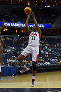 Team USA forward Swin Cash pulls up for a jumper during the 2012 USA Women's Basketball Team versus Brazil at Verizon Center in Washington, DC.  USA won 99-67.  July 16, 2012  (Photo by Mark W. Sutton)