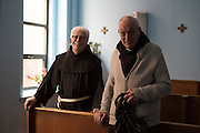 New York, NY, April 2, 2016. Franciscan Brother Paschal DeMattea, O.F.M. in the chapel with another Francisican in New York City. 04/02/2016. Photo by George Goss/NYCity News Service.