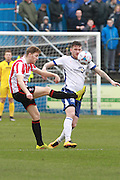 Asa Hall and Andy Cook during the Vanarama National League match between Barrow and Cheltenham Town at Holker Street, Barrow, United Kingdom on 6 February 2016. Photo by Antony Thompson.