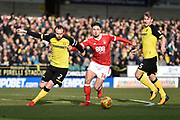 Burton Albion defender John Brayford (2) battles for the ball with Nottingham Forest midfielder Matty Cash (14) and Burton Albion defender Kyle McFadzean (5) during the EFL Sky Bet Championship match between Burton Albion and Nottingham Forest at the Pirelli Stadium, Burton upon Trent, England on 17 February 2018. Picture by Richard Holmes.
