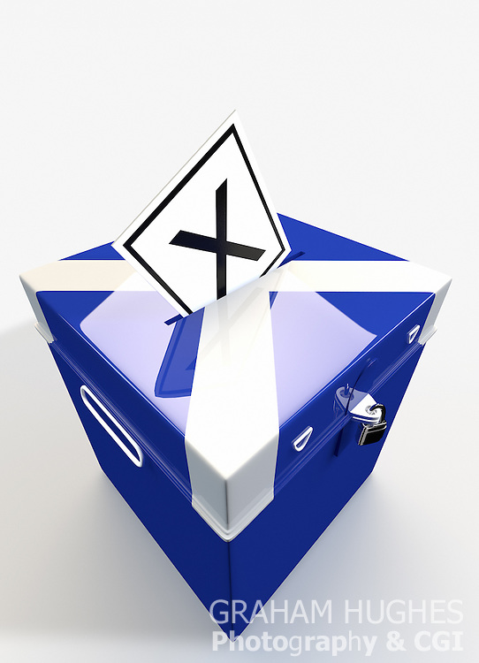 """X"" Voting slip in hole in lid of St Andrews Cross Ballot Box."