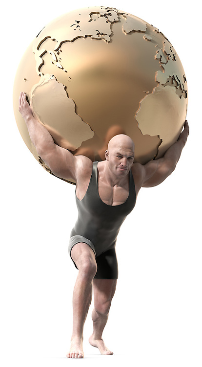 A muscular man with a body suit lifting a globe of the earth.