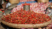 Basket of red chillies at local market in Inle Lake (Myanmar)