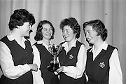 14/03/1964<br /> 03/14/1964<br /> 14 March 1964<br /> Leinster finals of Gael Linn Debating Competition for secondary schools at Manor House School, Raheny, Dublin. Four smart girls from Scoil Chaitriona, Eccles Street, Dublin who beat the boys and girls from Manor House School, Raheny, Co. Dublin; Good Counsel College, New Ross and Gormanstown College, Co. Meath. left to right are Isolda Ni Bhroin; Bernadate Ni Chorcoran; Nessa Ni Thuama and Brid Ni Shuilleabhain.
