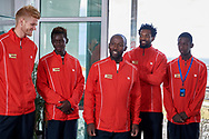 Sopot, Poland - 2018 April 06: (L-R) Benjamin Lock and Mehluli Don Ayanda Sibanda and captain Gwinyai Tongoona and Takanyi Garanganga and Mark Chigaazira all from Zimbabwe while Meet & Greet event one day before Poland v Zimbabwe Tie Group 2, Europe/Africa Second Round of Davis Cup by BNP Paribas at 100 years of Sopot Hall on April 06, 2018 in Sopot, Poland.<br /> <br /> Mandatory credit:<br /> Photo by © Adam Nurkiewicz / Mediasport<br /> <br /> Adam Nurkiewicz declares that he has no rights to the image of people at the photographs of his authorship.<br /> <br /> Picture also available in RAW (NEF) or TIFF format on special request.<br /> <br /> Any editorial, commercial or promotional use requires written permission from the author of image.