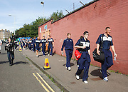 Robert Douglas and Stephen O'Donnell lead Dundee down the street to Tannadice - Dundee United v Dundee, Clydesdale Bank Scottish Premier League at Tannadice.. - © David Young - 5 Foundry Place - Monifieth - DD5 4BB - Telephone 07765 252616 - email: davidyoungphoto@gmail.com - web: www.davidyoungphoto.co.uk