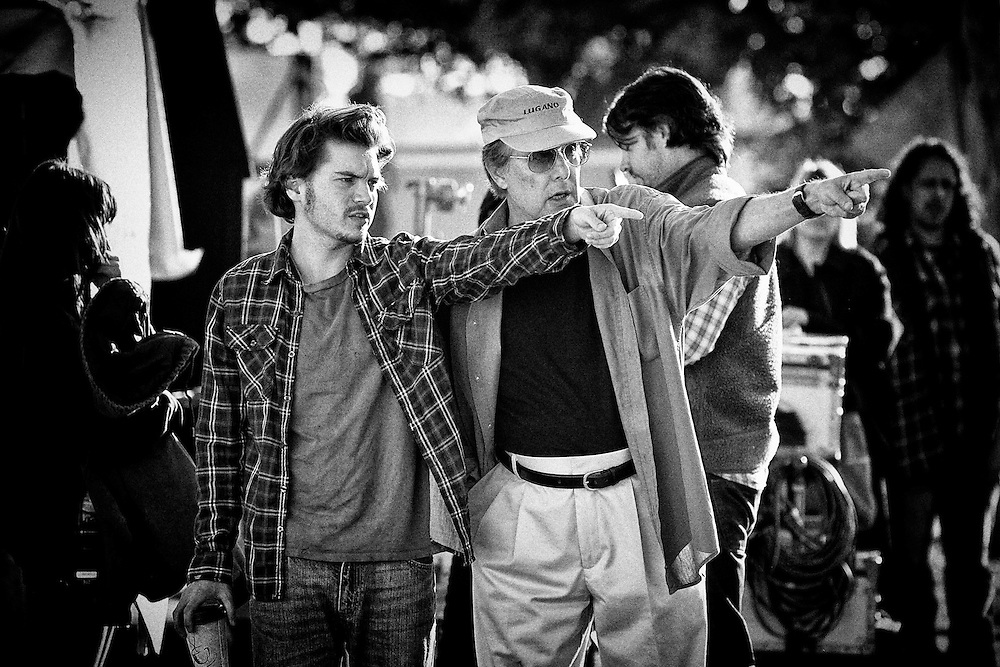 Actor Emile Hirsch and Director William Friedkin on the set of the feature film 'Killer Joe' in New Orleans, LA.