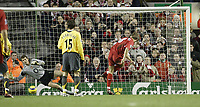 Photo: Aidan Ellis.<br /> Liverpool v Arsenal. The Barclays Premiership. 14/02/2006.<br /> Arsenal's lens Lehman saves Steven Gerrard's penalty