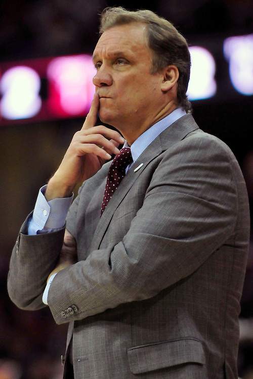 April 13, 2011; Cleveland, OH, USA; Washington Wizards head coach Flip Saunders during the first quarter against the Cleveland Cavaliers at Quicken Loans Arena. Mandatory Credit: Jason Miller-US PRESSWIRE
