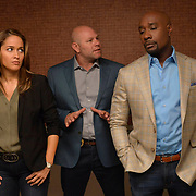 """ROSEWOOD: Pictured L-R: Jaina Lee Ortiz, Domenick Lombardozzi and Morris Chestnut in the """"""""Lidocaine & Long-Term Lust"""" episode of ROSEWOOD airing Thursday, Nov. 10 (9:00-10:00 PM ET/PT) on FOX. ©2016 Fox Broadcasting Co. CR: Lisa Rose/FOX"""