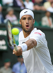 29.06.2011, Wimbledon, London, GBR, ATP World Tour, Wimbledon Tennis Championships, im Bild Feliciano Lopez (ESP) in action during the Gentlemen's Singles Quarter-Final match on day nine of the Wimbledon Lawn Tennis Championships at the All England Lawn Tennis and Croquet Club. EXPA Pictures © 2011, PhotoCredit: EXPA/ Propaganda/ David Rawcliffe +++++ ATTENTION - OUT OF ENGLAND/UK +++++
