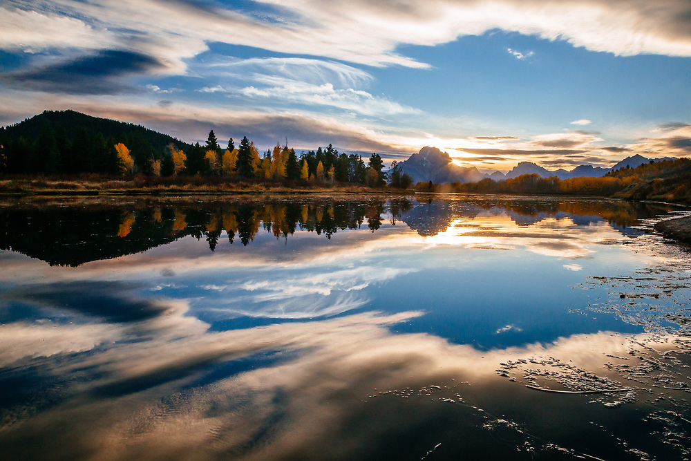 Cloud reflections with Mt Moran and Oxbow Bend, Grand Teton National Park, Wyoming.