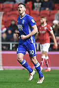 Birmingham City striker Lukas Jutkiewicz (10) scores a goal 2-1 and celebrates during the EFL Sky Bet Championship match between Bristol City and Birmingham City at Ashton Gate, Bristol, England on 10 April 2018. Picture by Alan Franklin.