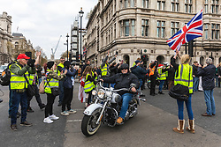 "© Licensed to London News Pictures. 12/04/2019. London, UK. Hundreds of bikers arrive in Parliament Square for a ""rolling thunder"" protest in support of ""Soldier F"", a former British soldier charged in connection with the Bloody Sunday killings. Photo credit: Rob Pinney/LNP"