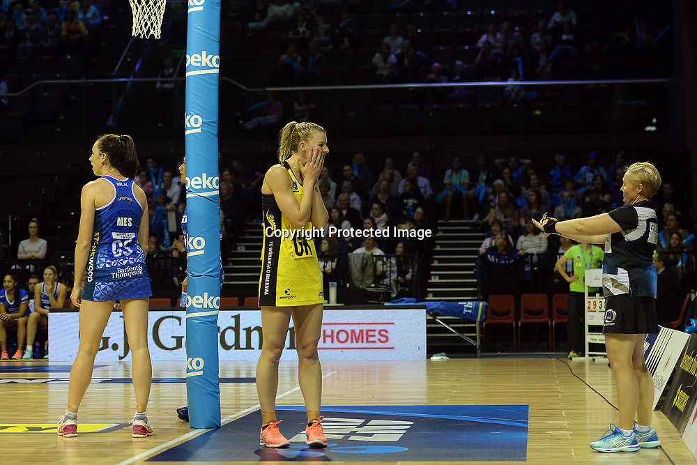 Central Pulse captain Katrina Grant seen grimacing over a call by umpire Ann Hay during the ANZ Premiership Netball match between Central Pulse v Northern Mystics, TSB Arena, Monday 24th April 2017. Copyright Photo: Raghavan Venugopal / www.photosport.nz