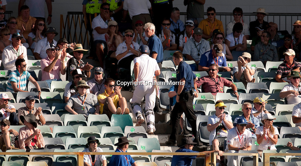 Andrew Strauss walks up the steps to the dressing room after being caught by Ricky Ponting during the third Ashes test match between Australia and England at the WACA (West Australian Cricket Association) ground in Perth, Australia. Photo: Graham Morris (Tel: +44(0)20 8969 4192 Email: sales@cricketpix.com) 18/12/10