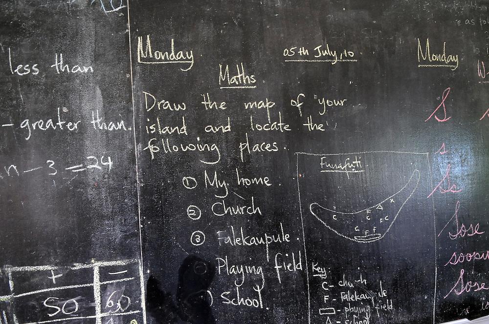 Classroom blackboard, Funafuti, Tuvalu, Tuesday, July 06, 2010. Credit:SNPA / Ross Setford