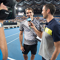 Roger Federer of Switzerland at Margaret Court Arena after the men's final on day fourteen of the 2017 Australian Open at Melbourne Park on January 29, 2017 in Melbourne, Australia.<br /> (Ben Solomon/Tennis Australia)