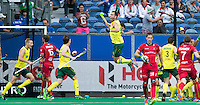 ANTWERP -   Australiea scores in the last minute   during the final Australia vs Belgium (1-0). Mark Knowles jumps high. WSP COPYRIGHT KOEN SUYK