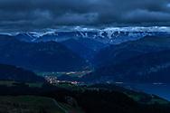 Dawn over Interlaken and Eiger, Mönch and Jungfrau, Niederhorn, Interlaken, Berne, Switzerland