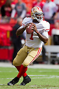 KANSAS CITY, MO - SEPTEMBER 26:   Troy Smith #1 of the San Francisco 49ers warms up before a game against the Kansas City Chiefs at Arrowhead Stadium on September 26, 2010 in Kansas City, Missouri.  The Chiefs defeated the 49ers 31-10.  (Photo by Wesley Hitt/Getty Images) *** Local Caption *** Troy Smith