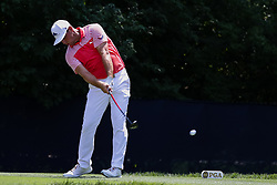 August 10, 2018 - St. Louis, MO, U.S. - ST. LOUIS, MO - AUGUST 10:  Gary Woodland (USA) plays his shot from the ninth tee during Round 2 of the PGA Championship August 10, 2018, at Bellerive Country Club in St. Louis, MO.  (Photo by Tim Spyers/Icon Sportswire) (Credit Image: © Tim Spyers/Icon SMI via ZUMA Press)