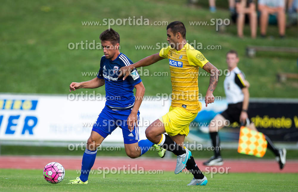 18.07.2015, Dolomitenstadion, Lienz, AUT, Testspiel, Arminia Bielefeld vs Udinese Calcio, im Bild Stefan Lex (FC Ingolstadt), Danilo (Udinese Calcio) // during a International Friendly Football Match between Arminia Bielefeld and Udinese Calcio at the Dolomitenstadion in Lienz, Austria on 2015/07/18. EXPA Pictures © 2015, PhotoCredit: EXPA/ Johann Groder