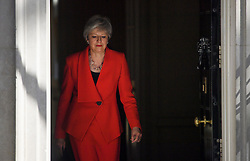 © Licensed to London News Pictures. 24/05/2019. London, UK. British Prime Minister THERESA MAY is seen arriving to deliver a statement at Downing Street in Westminster, London announcing her resignation. The Prime Minister is under huge pressure to quit over her handing of negotiations for the UK's exit from the European Union. Photo credit: Ben Cawthra/LNP