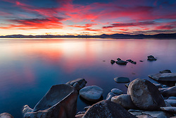 """Tahoe Boulders at Sunset 8"" - This bowl like boulder was photographed at sunset along the East Shore of Lake Tahoe."