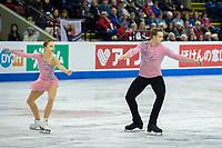 KELOWNA, BC - OCTOBER 25: Russian figure skaters Aleksandra Boikova and Dmitrii Kozlovskii compete in the pairs short program of Skate Canada International held at Prospera Place on October 25, 2019 in Kelowna, Canada. (Photo by Marissa Baecker/Shoot the Breeze)