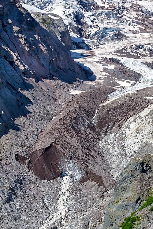 The Nisqually glacier's terminus on Mount Rainier in Mount Rainier National Park, Washington State, USA