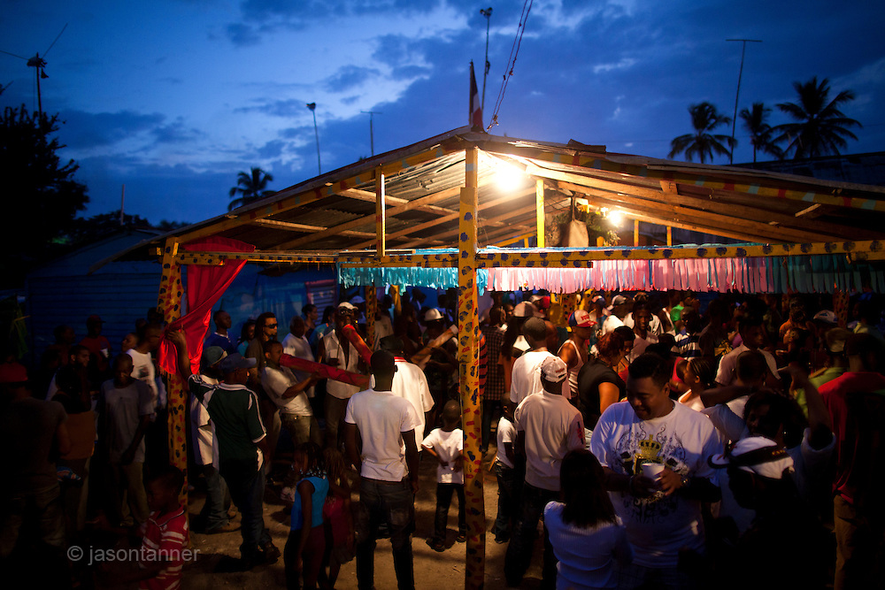 Dominican Republic: Musicians play and festivities begin at the compound of Bleo, a Vodú  priest and head of El GaGá de San Luis on the outskirts of Santo Domingo...Musicians play instruments traditionally found in West Africa.
