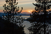 Looking West over Lake Coeur d'Alene at sunset from Mineral Ridge Hiking trail, Coeur d'Alene, Idaho, USA . PLEASE CONTACT US FOR DIGITAL DOWNLOAD AND PRICING.